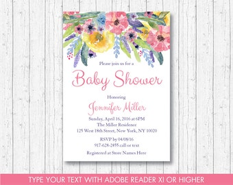 Floral Baby Shower Invitation / Watercolor Flower Invite / Floral Baby Shower / Baby Girl Shower / Editable PDF INSTANT DOWNLOAD A385