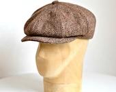 Men's Newsboy Cap in Harris Tweed - Herringbone Tweed Cap - Made to Order