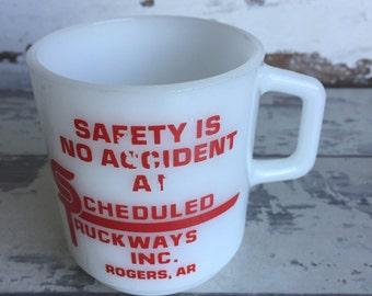 Vintage Milk Glass Mug - Rogers Arkansas - Scheduled Truckways