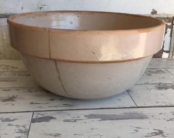 Vintage Crock Pottery Bowl -8 quart 12 Inch Mixing Bowl - Primitive Salt Glaze HUGE