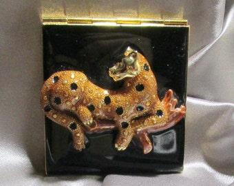 Vintage  Leopard Mirror Compact