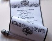 Formal wedding invitation, antique damask fabric scroll invitation, black white wedding, traditional wedding, alternative invitation, 10