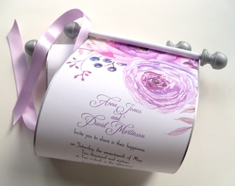 Peonies wedding invitations, scroll invitations with watercolor flowers, silver and lilac