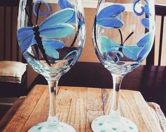 Totally blue dragonfly wine glasses