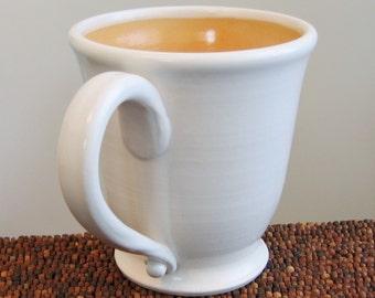 Large Coffee Mug - Handmade Stoneware Ceramic Pottery Cup in Cantaloupe Orange 16 oz.