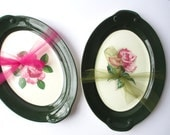 Reservded for Larry Vintage Taylor Smith Taylor Pink Green Rose Serving Platter Pair Shabby Weddings Cottage Chic