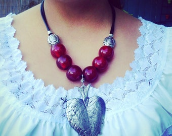 Ex Voto Heart Red Statement Necklace Mexican Boho Gypsy Hippie Jewelry Wink Artisans Marisol Apostol