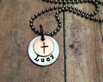 Cross Necklace, Name Necklace, Personalized Necklace, Handstamped Cross Name Necklace, Confirmation Gift, First Communion Gift, Baptism Gift