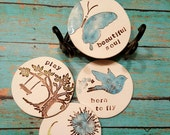 Coasters Set, Housewarming Gift, Teacher Gift, Co-worker, secretary, Birthday, drink coasters, absorbent coasters, clay coasters, ceramic