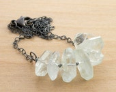 Aquamarine Necklace, Light Blue Gemstone, Hand Knotted Waxed Linen, March Birthstone, Sterling Silver #4195