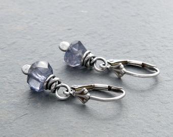 Iolite Gemstone Earrings, Iolite Dangles, Faceted Blue Gemstones, Blue Gray Gemstones, Sterling Silver Lever Back, Dangle Earrings, #4313