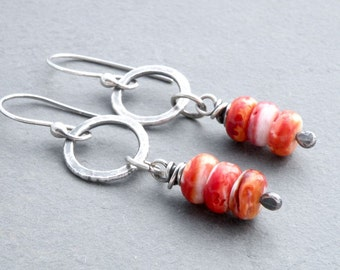 Orange Spiny Oyster Shell Earrings, Gemstone Earrings, Stacked Orange Shell Beads, Dangle Earrings, Circle Dangle, Sterling Silver, #4667