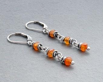 Orange Carnelian Dangle Earrings, Carnelian Gemstone Earrings, Faceted Orange Carnelian, Lever Back Dangle Earrings, Sterling Silver, #4700