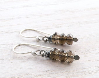 Smoky Quartz Earrings, Stacked Stones, Brown Gemstone, Wire Wrapped, Sterling Silver, Dangle Earrings, #4329
