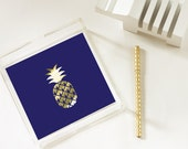 Pineapple - Gold Foil Pineapple Tray - Trinket Tray - Home Decor - Jewelry Organizer - 3 Sizes