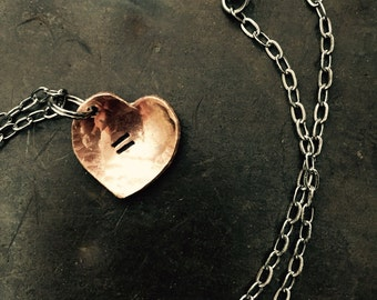 Equal love ~ Copper bracelet or Necklace  Rustic heart ~ hammered penny hand cut into a heart