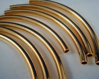 10 Curved Tube Bead Gold Plated Brass 50x3mm (2 inches) - 10 Pc - M7017-G10