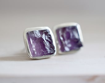 Amethyst earrings. Sterling silver earrings with natural Amethyst. Amethyst studs, raw Amethyst studs, raw Amethyst, crystal earrings.