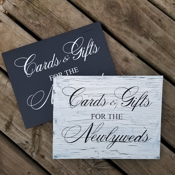 Cards and Gifts for the Newlyweds 9 x 12 Pine Wood Painted Sign
