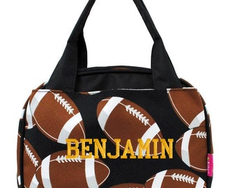 Personalized Lunch Bag Football Insulated Monogrammed Boys School