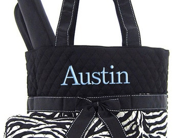 Personalized Diaper Bag Zebra Black White Quilted Monogrammed