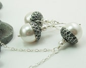 Acorn Necklace and Earrings Set with White Swarovski Pearls, White Pearl Jewelry Set, Winter Wedding Gift