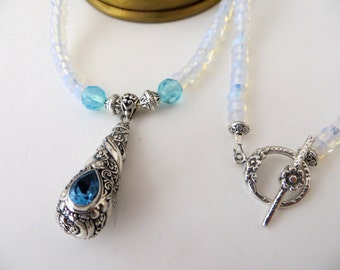 Blue Topaz Pendant Necklace-Opalite Necklace-Bali Silver Pendant