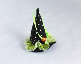 Halloween Ornaments Plush Black Polka Dot Witch Hat with green ruffled brim Halloween Decoration, Fabric Decorations ornaments