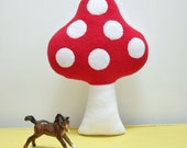 Little Toadstool Plush, Red and White Toadstool Cuddle Pillow, Toadstool Room Decor, Small Cushion