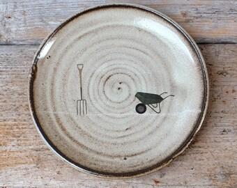 Wheelbarrow and Fork Black Ceramic Plate