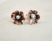 Copper flower earrings with 5 petals. Custom order for Chrissy