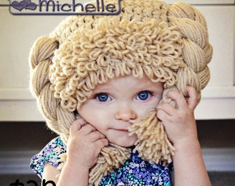 Cabbage Patch like Doll Hat and Hair for Babies Toddler Children and Adults Custome Handmade Wig Costume for Halloween
