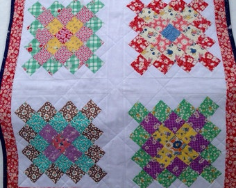 Vintage Style Table Runner Granny Square Patchwork Table Mat Cottage Style Decor Cheery Table Runner Summer Cottage Table Topper