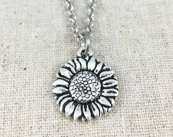 Sunflower Charm Necklace, Silver Sunflower Charm Jewelry, Flower Necklace