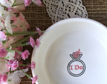 Ceramic Ring Bowl Ready to Ship - I Do - Wedding Ring & Jewelry Holder - Wedding Ring Dish - Shower Gift - Wedding Gift Dish - Ring Holder