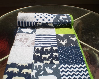 Baby quilt,baby boy bedding,baby girl quilt,woodland,rustic,navy blue,grey,lime,deer,stag,bear,moose,fawn,organic,arrows,chevron,Forest Pals