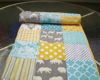 Baby quilt,teal,grey,yellow,Baby boy bedding,baby girl quilt,Deer Bear Crib quilt,chevron,rustic baby,woodland,toddler,Woodsy,Sea and Sun