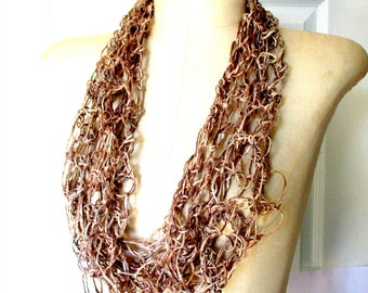 Infinity scarf, Fashion Infinity Scarf Women's Scarf, Circle, Loop, Beige, Light Brown Ribbon, String Scarf Funnel Scarf