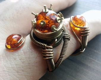 Amber ring, Steampunk Ring  - Adjustable Size 9 to 13 US -  Brass Copper with Vintage clock parts inlayed in MYSTERIOUS Amber - Prototype