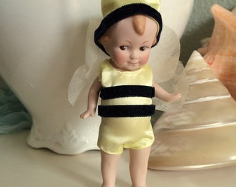 "Tiny Bisque Antique German Boy Doll 5"" Bumble Bee"