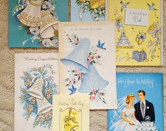 Mixed Lot of Vintage Wedding Gift Cards Group - Green Aqua - Bells Floral Roses