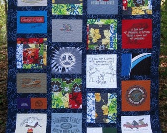 camping quilt, campfire quilt, memory quilt, t-shirt quilt, nap quilt, hammock quilt,.....Made to orderl