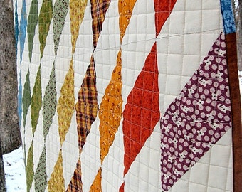 """modern lap quilt, baby quilt..49"""" x 37""""...harlequin style...modern quilt...ready to ship"""