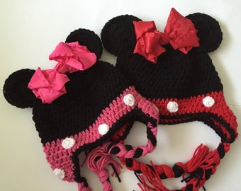 Popular Girl Mouse Crochet Hat - All Sizes Available - Size Newborn to Adults