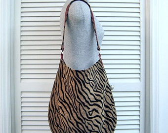 SHOP CLOSING Sale-Tiger Stripe Chenille & Red Leather Trim-Hobo/Slouch/Shoulder/Tote Bag-Room for iPad/Tablet-Handmade-Original Pattern