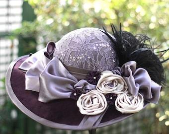 Wide Brim Elegant 1900s Victorian Hat Bow Flowered Edwardian Costume Titanic Velvet Downton Abbey Garden Tea