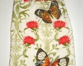 Butterfly Hanging Towel - Butterflies and Flowers Crochet Top Towel - Crochet Top Hanging Towel - Kitchen Dish Towel - Hanging Dish Towel