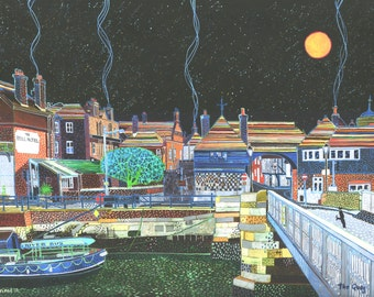 The Quay (Sandwich) A Ltd edition, numbered and signed A4 print from a Painting by Richard Friend