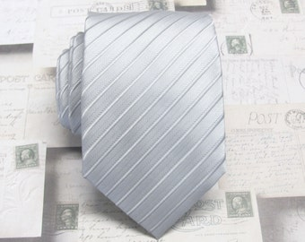 Mens Tie Neck Tie. Silver Gray Stripes Mens Necktie With Matching Pocket Square Option
