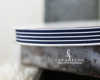 """Navy and White Stripe Grosgrain Ribbon 7/8"""""""